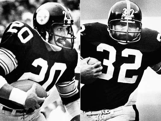 En el pasado, los corredores no pueden tener éxito sin sus defensas. Sus protectores personales allanaron el camino para la gloria y, a veces, los títulos de Super Bowl. Aquí está una lista de los 10 mejores, comenzando por el tándem más exitoso de la historia, Rocky Bleier (izquierda) y Franco Harris, quienes ganaron cuatro Super Bowls juntos en Pittsburgh. Por extraño que parezca, los papeles se invirtieron, con corredor Bleier a menudo bloqueando a Franco, el fullback. La pareja se convirtió en el segundo dúo en correr por más de 1,000 yardas en 1976, y Harris fue seleccionado a nueve Pro Bowls consecutivos con Bleier a su lado.