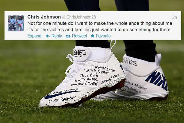 Tennessee Titans running back Chris Johnson paid tribute to all 26 victims of the Sandy Hook Elementary shooting by writing all of their names on his cleats for the Monday night game against the New York Jets. Johnson rushed for 122 yards and scored on a 94-yard TD run in the Titans' 14-10 win.