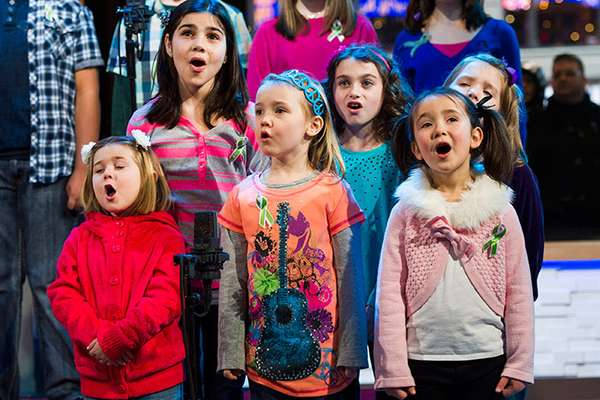 "Some of the children that survived the tragedy in Newtown, CN, at Sandy Hook Elementary last month came together to record a version of  ""Over The Rainbow"" on Tuesday."
