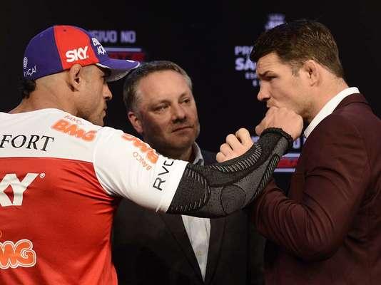 O brasileiro Vitor Belfort se irritou nesta quinta-feira durante a tradicional encarada com Michael Bisping, seu adversário no UFC São Paulo que acontece no próximo sábado, no Ginásio do Ibirapuera