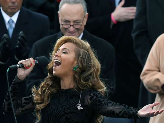 Beyoncé performs the Star-Spangled Banner at President Barack Obama's second inauguration on Monday, January 21. The singer and Kelly Clarkson were among the guests to take the mic at the event.