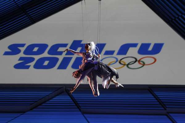Artists suspended on wires perform during a ceremony to launch a countdown clock for the 2014 Winter Olympics in the Bolshoi Ice Dome in the Black Sea resort of Sochi February 7, 2013.
