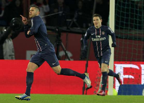Paris Saint-Germain's Jeremy Menez (L) celebrates after scoring against Bastia during the French Ligue 1 soccer match.