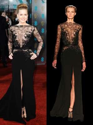 En la pasada edición de los BAFTA, Amy Adams fue coronada como una de las más elegantes. Su arma infalible: este vestido de encaje y transparencias de la colección de invierno de Elie Saab. Nada que envidiar a la modelo