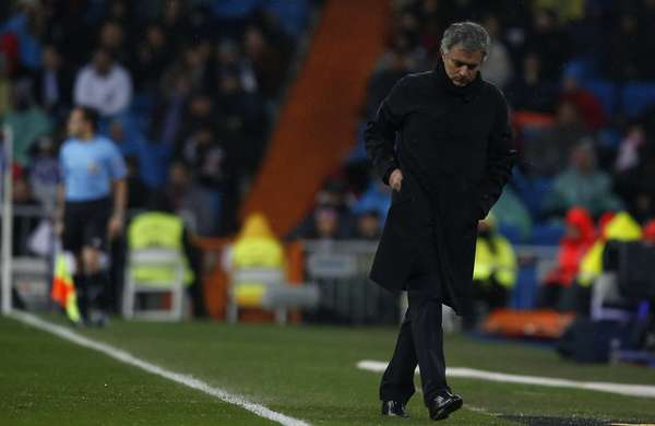 Real Madrid's coach Jose Mourinho reacts.