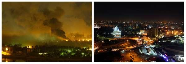 Con la salida del último soldado estadounidense de Irak se puso fin a una guerra iniciada el 20 de marzo de 2003 que ha supuesto decenas de miles de bajas civiles y militares. Estas imágenes muestran el antes y el después en este décimo aniversario de la invasión internacional.