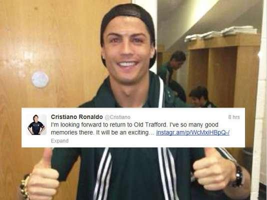 Cristiano Ronaldo está, sin duda, emocionado por volver a su antiguo estadio, como lo trinó felizmente.