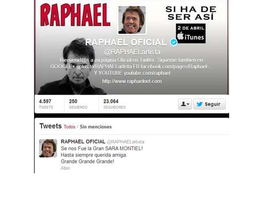 Raphael se despide de Sara Montiel