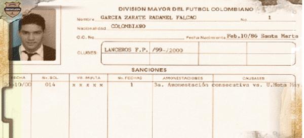 El primer club de Radamel Falcao fue Lanceros, con el que fue el jugador más joven en debutar en la Liga colombiana