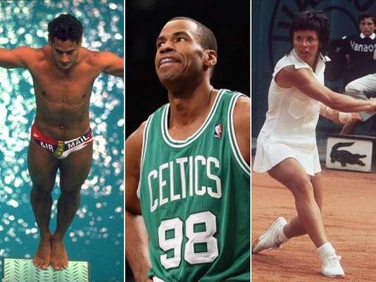 """El jugador de la NBA Jason Collins (centro) anunció que es gay. Collins es el último atleta en """"salir del closet"""" y el primer jugador activo de la NBA que admite su homosexualidad. A continuación te presentamos algunos casos más sonados de deportistas que han revelado su orientación sexual."""