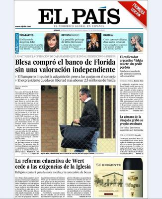 """'El País' titula con que """"Blesa compró el banco de Florida sin una valoración independiente""""."""