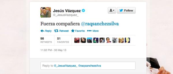 """Jesús Vázquez: """"Fuerza compañera @raqsanchezsilva"""""""