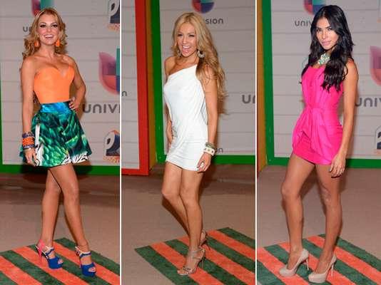 Las estrellas más provocativas del espectáculo mostraron sus espectaculares piernas en la gala de entrega de los Premios Juventud 2013, el 18 de julio en el BankUnited Center de la Universidad de Miami.