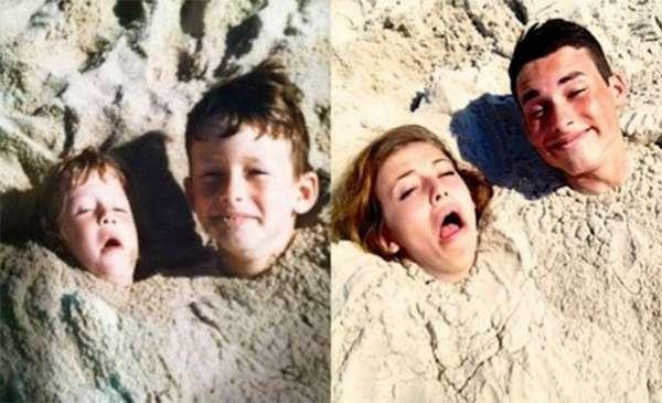 ¡Arena, playa y muecas de hermanos!