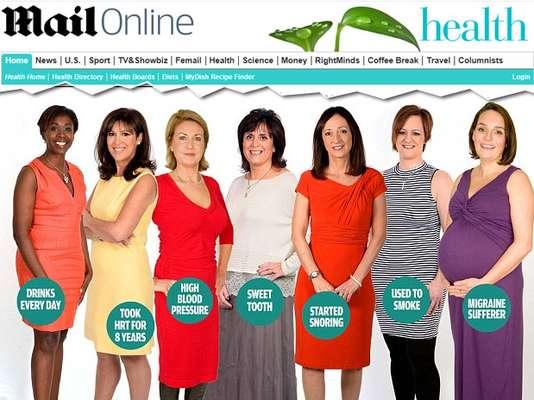 O site inglês Daily Mail reuniu sete mulheres e, com a ajuda de um cardiologista, analisou quais os fatores de risco de ter um infarto de cada uma delas