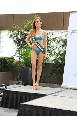 Miss Albania - Afroviti Goge, tiene 23 años de edad, mide 1.77 metros de estura (5 ft 9 12 in)y reside en Tirana.