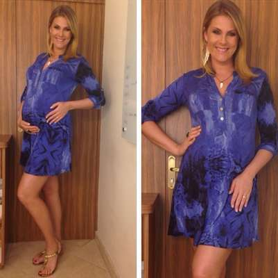 """Aos seis meses de gravidez, Ana Hickmann mantém a preocupação com o """"look do dia"""". No Instagram, a apresentadora postou uma foto em que aparece de vestido azul estampado e rasteirinhas"""