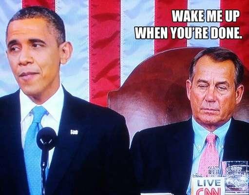 Tal parece que el líder republicano en el Congreso John Boehner se aburrió durante el discurso de Obama que hasta le ganó el sueño, lo que fue presa de burlas en internet.