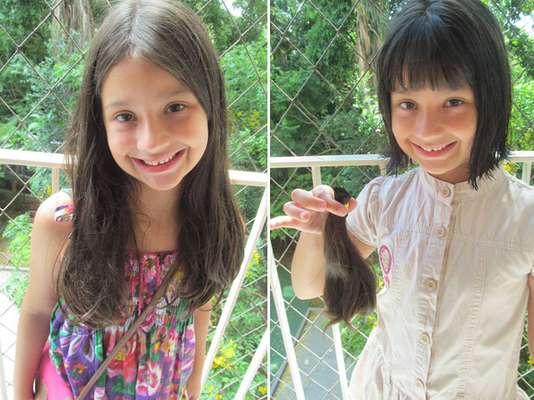 Aninha doou o cabelo ao projeto no dia que completou seis anos de idade ao projeto Rapunzel Solidária, que atua em prol de mulheres com câncer