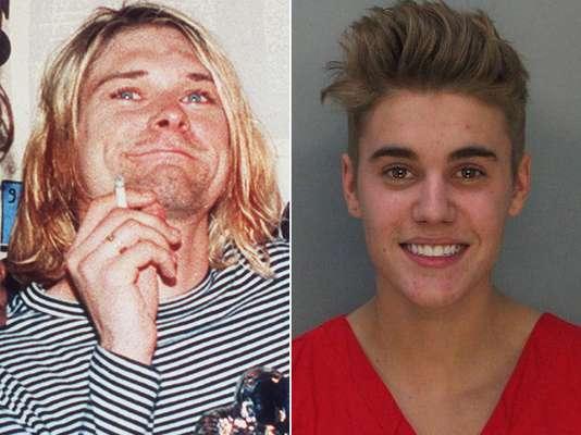 Justin Bieber definitivamente 'está en pañales' al lado de Kurt Cobain, no sólo porque en materia musical jamás llegará a componer como el líder de Nirvana. Los escándalos de su vida personal son sin duda dignos de un niño consentido.