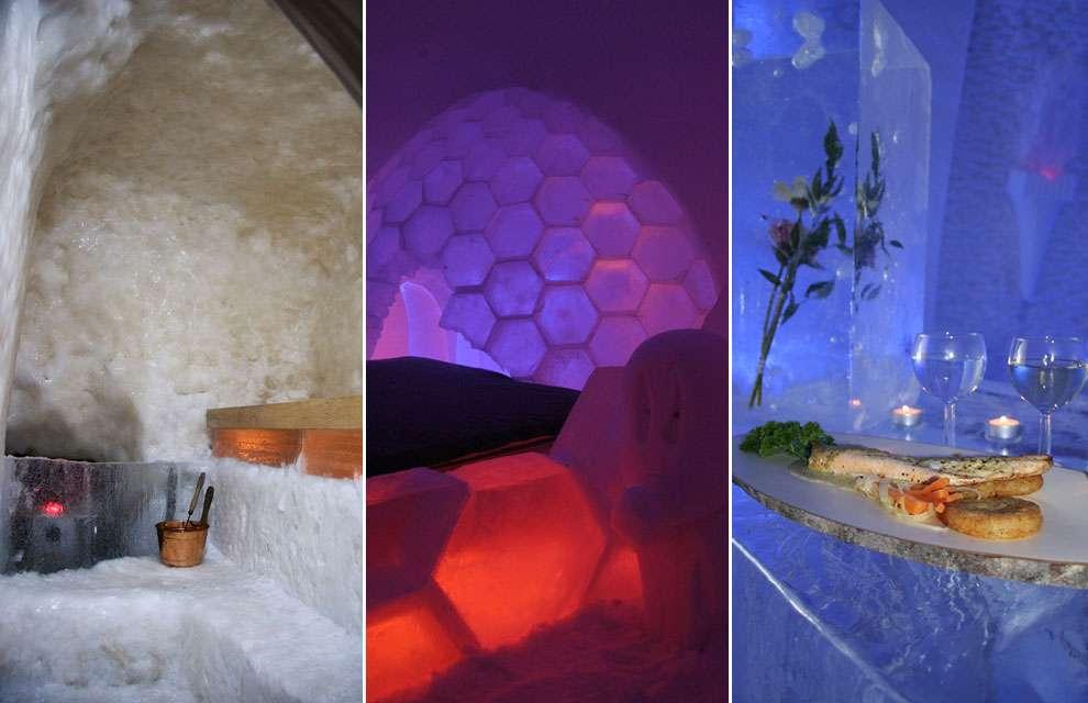 Arctic Snow Hotel. Se encuentra en Finlandia y cuenta con habitaciones compartidas, un diseño alucinante, Snow Village y, paradójicamente, un sauna. Foto: Arctic Snow Hotel