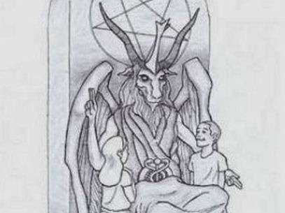 Este es el diseño de la estatua que un grupo satánico espera que se coloque en Oklahoma. Foto: AP