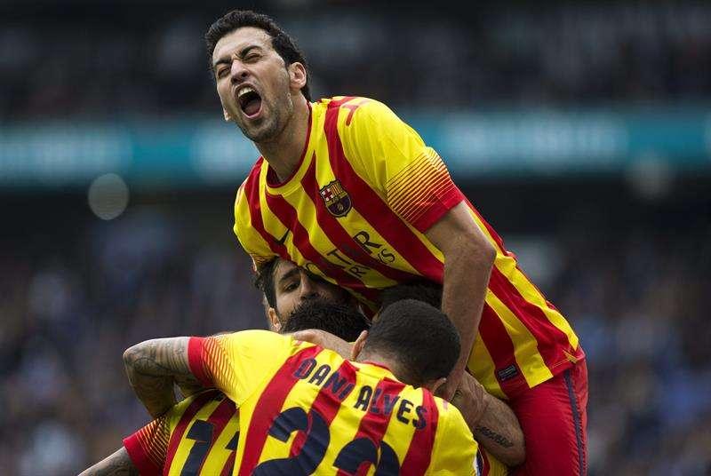 Los jugadores del Barcelona celebran el gol de Messi Foto: EFE en español
