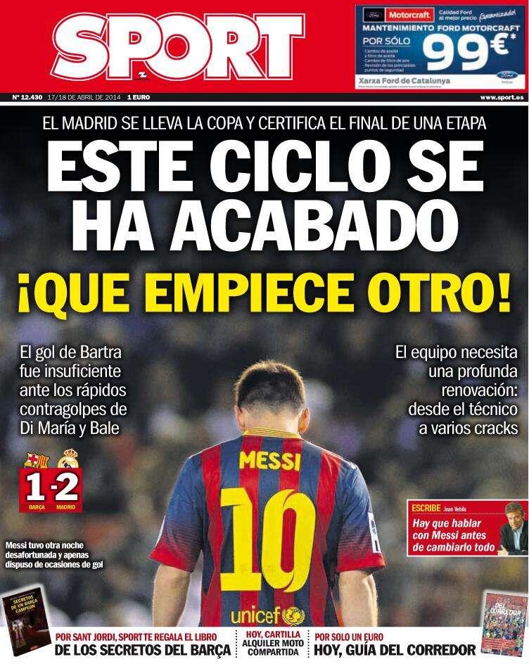 Imprensa espanhola destaca Rei Bale e Barça triste em final