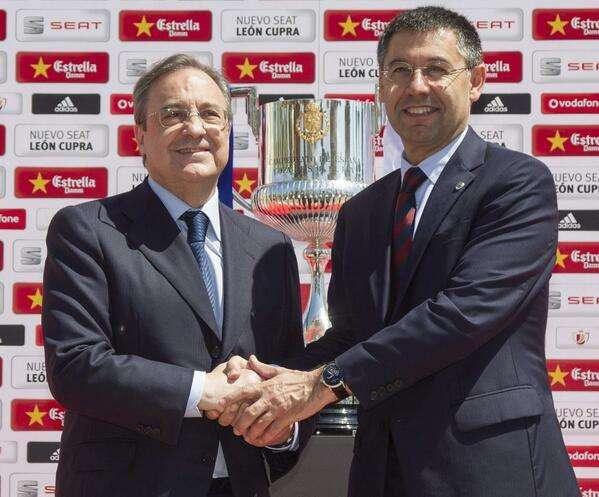 Saludo Florentino y Bartomeu Foto: Rubén Uría - Twitter