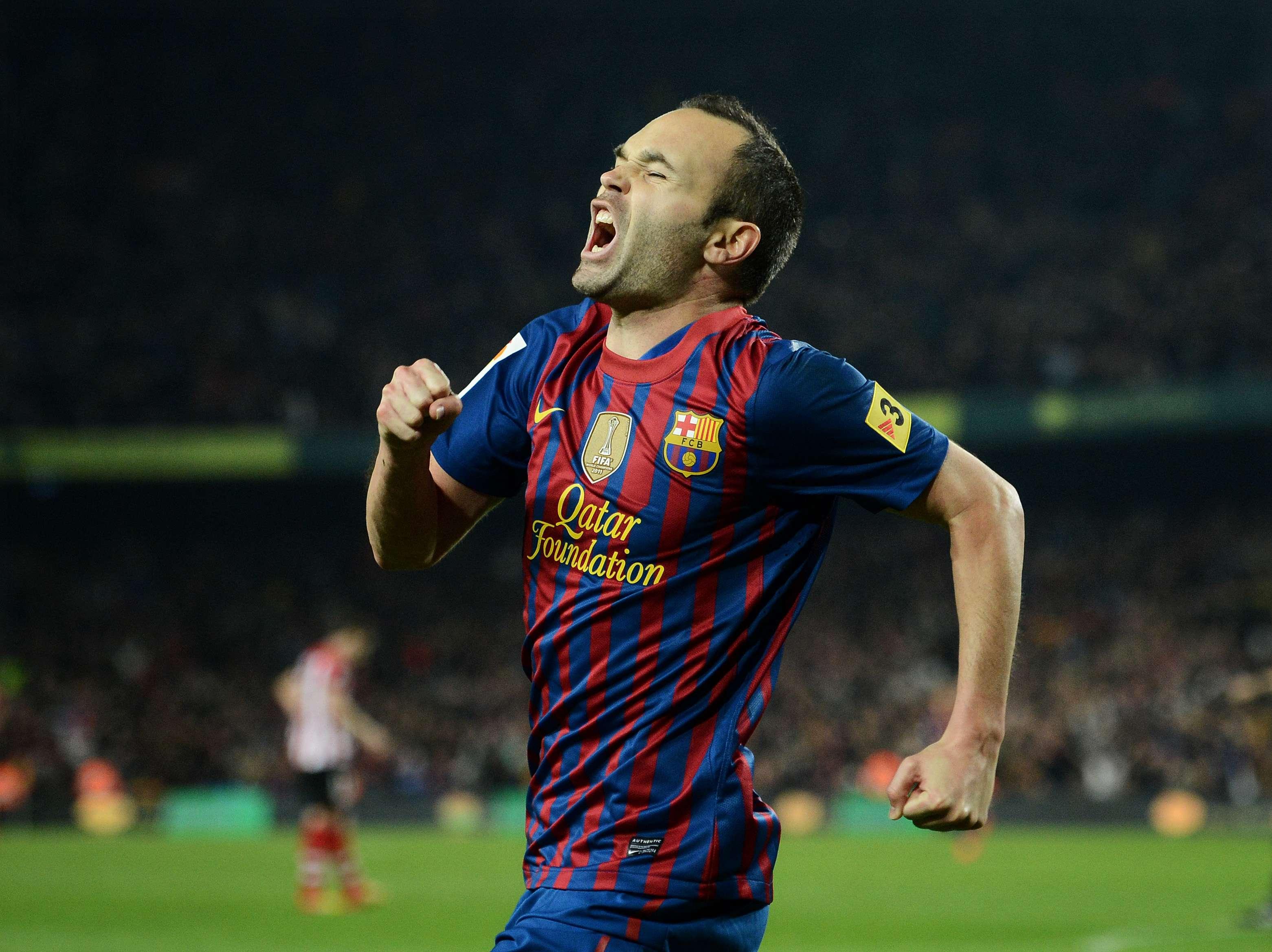 Iniesta, durante un partido ante el Athletic Foto: Getty Images