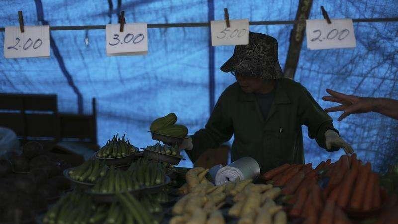 Vendedor de legumes em feira livre no bairro de Vila Madalena, São Paulo. A inflação oficial brasileira desacelerou a 0,46 por cento em maio beneficiada pelos preços de alimentos e transportes. 9/11/2013. Foto: Nacho Doce/Reuters