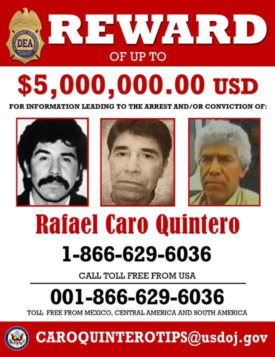 El Gobierno de Estados Unidos, ofrece una recompensa de cinco millones de dólares por información que conduzca a la captura de Rafael Caro Quintero, uno de los capos históricos del narcotráfico mexicano. Foto: DEA