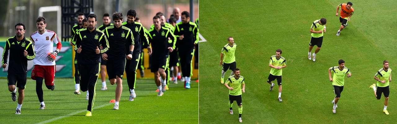 A la izquierda, un entrenamiento en Curitiba (con manga larga y chándal); a la derecha, uno en Salvador, donde se disputó el España-Holanda. Foto: Getty Images