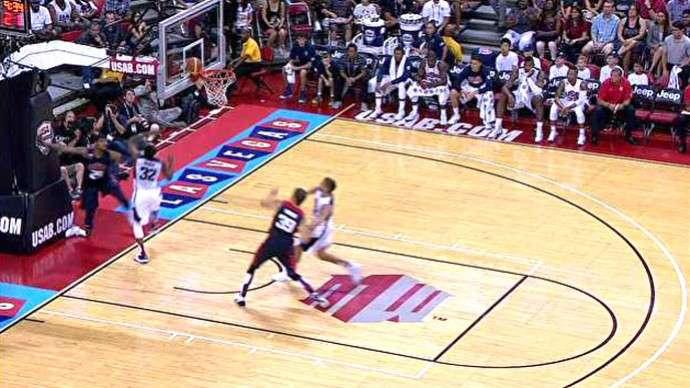 Momento da lesão de Paul George em Las Vegas Foto: YouTube/Reprodução