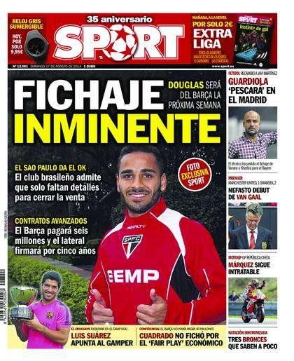 Jornal espanhol estampa na capa acerto de Douglas com Barça