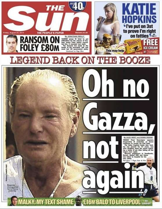 Gascoigne and other soccer stars who were alcoholics