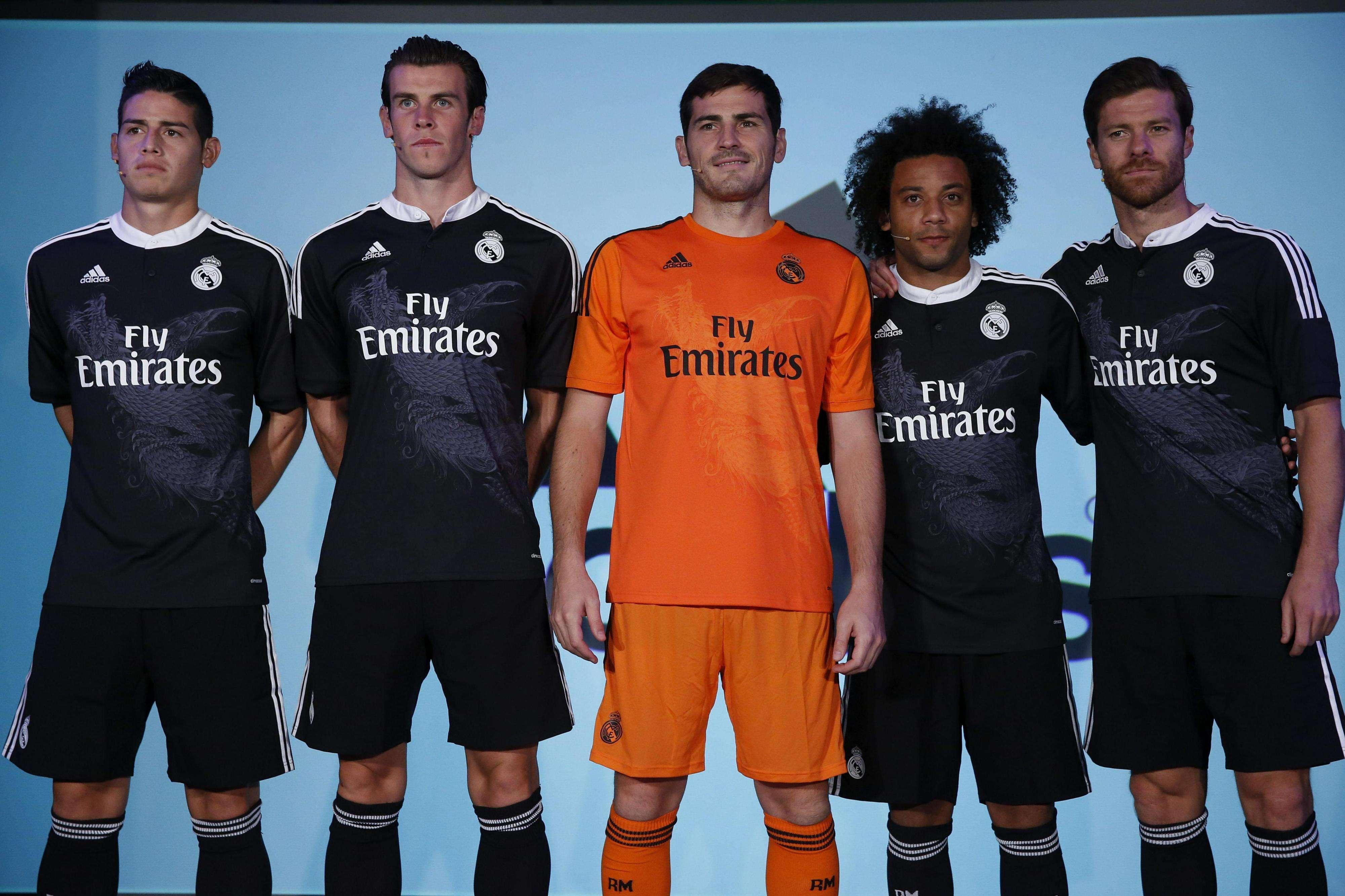 Nova camisa do Real Madrid para a Liga dos Campeões tem estampa de dragão Foto: Juan Carlos Hidalgo/EFE