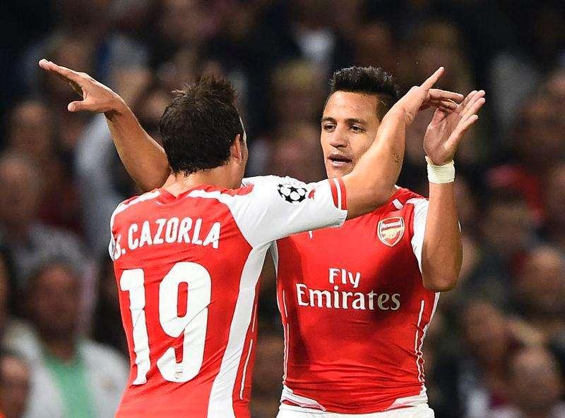 Alexis Sánchez comemora gol do Arsenal contra o Besiktas. Foto: Dylan Martinez/Reuters
