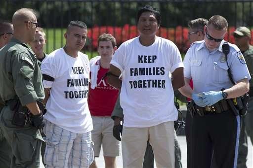 140 activistas pro migrantes arrestados frente a Casa Blanca