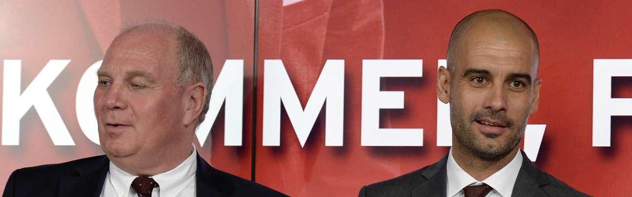 Guardiola, junto a Hoeness en su presentación como entrenador del Bayern de Munich Foto: AFP en español