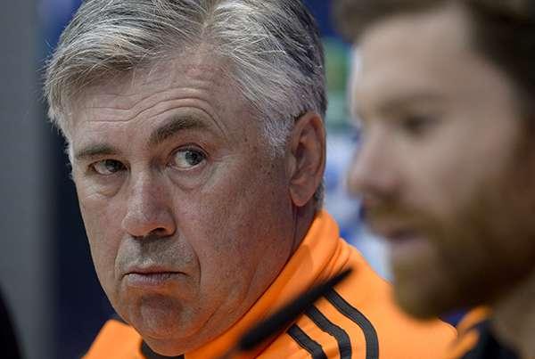 Ancelotti y Xabi Alonso, durante una rueda de prensa Foto: Getty Images