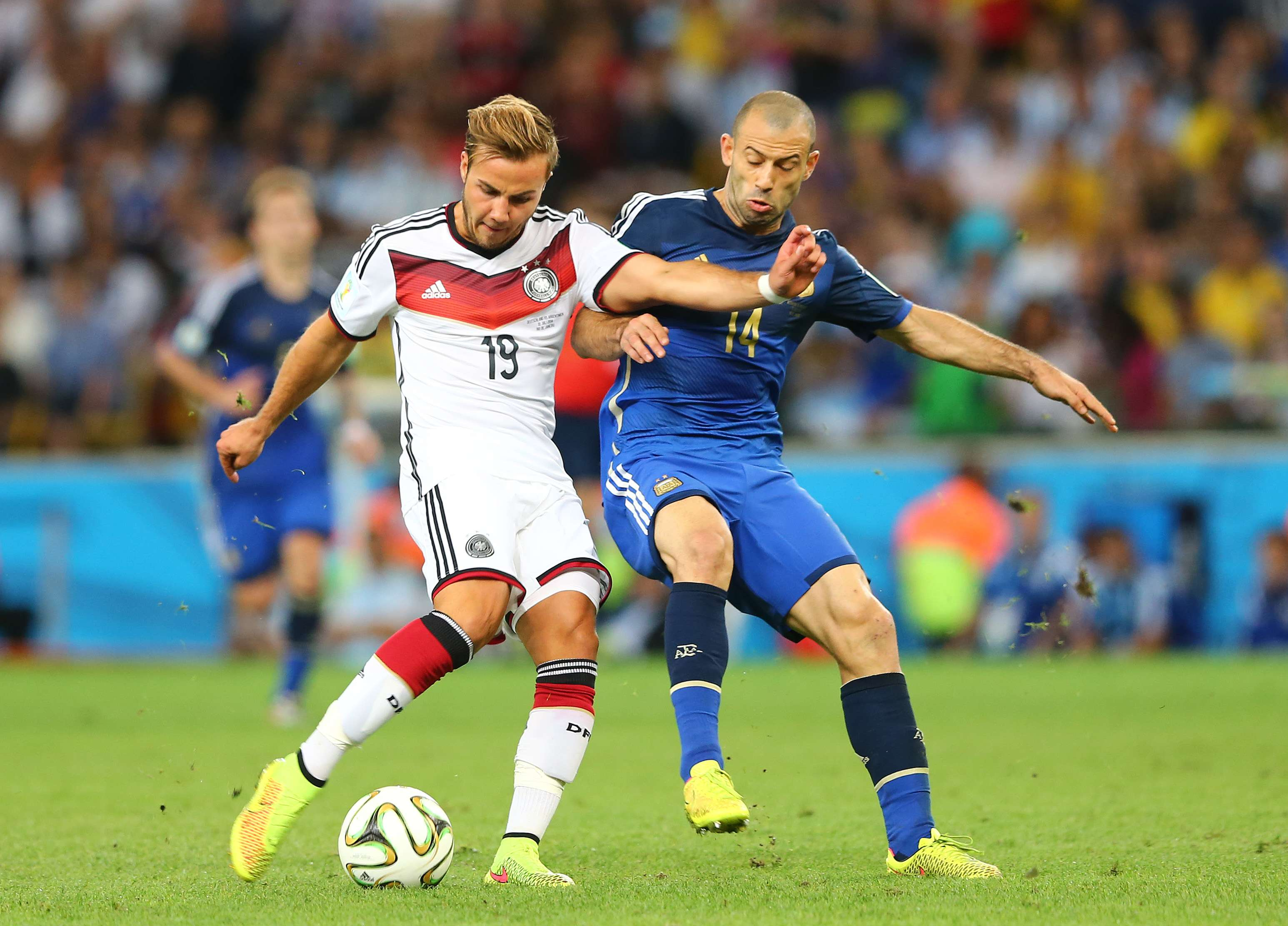 Götze e Mascherano na final da Copa do Mundo Foto: Martin Rose/Getty Images