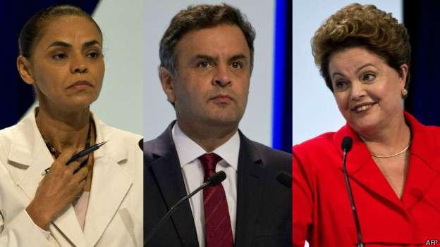 Aécio acabou ofuscado no debate pela 'disputa' entre as líderes da pesquisa, Marina e Dilma Foto: AFP/BBCBrasil.com
