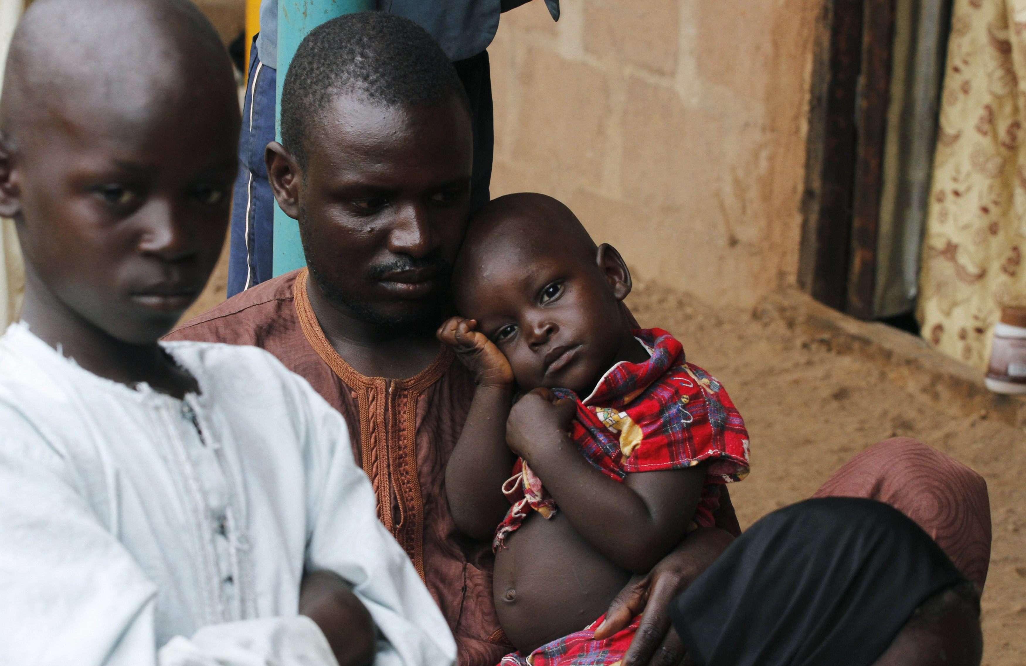 Refugiados da violência do Boko Haram na cidade nigeriana de Wurojuli Foto: Samuel Ini/Reuters