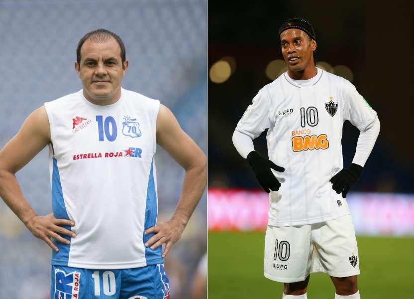 Veteranos pero imanes de taquilla, Cuauhtémoc Blanco y Ronaldinho Foto: Gettyimages