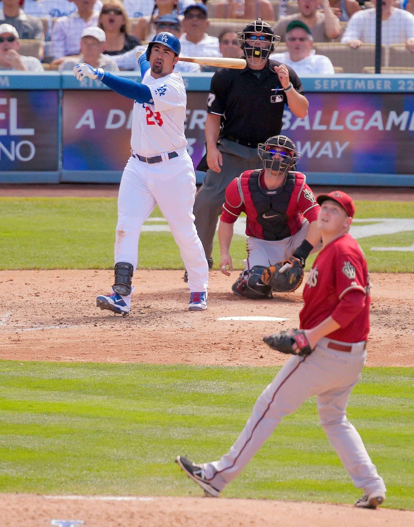 El mexicano Adrián González conectó un par de jonrones de tres carreras para llegar a 100 carreras impulsadas por séptima ocasión, y los Dodgers de Los Ángeles vencieron 7-2 a los Diamondbacks de Arizona Foto: AP