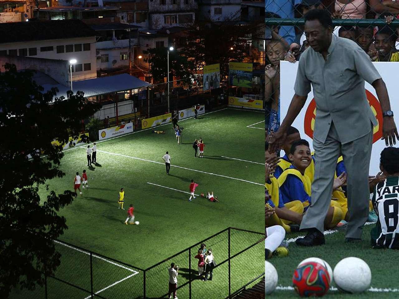 La cancha de última generación está ubicada en la favela Morro da Mineira, en Río de Janeiro Foto: EFE