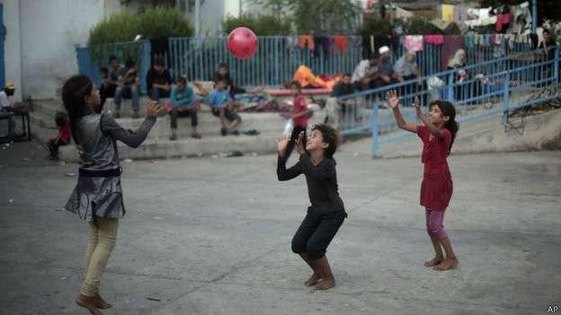 Foto de archivo de niños en Gaza durante la guerra de este verano. Foto: AP