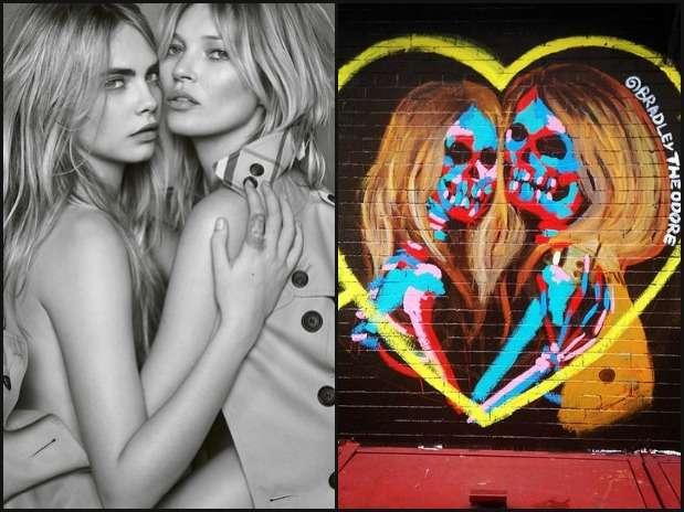 Kate Moss y Cara Delevingne se convierten en calaveras Foto: Instagram/Burberry/CaraDelevingne