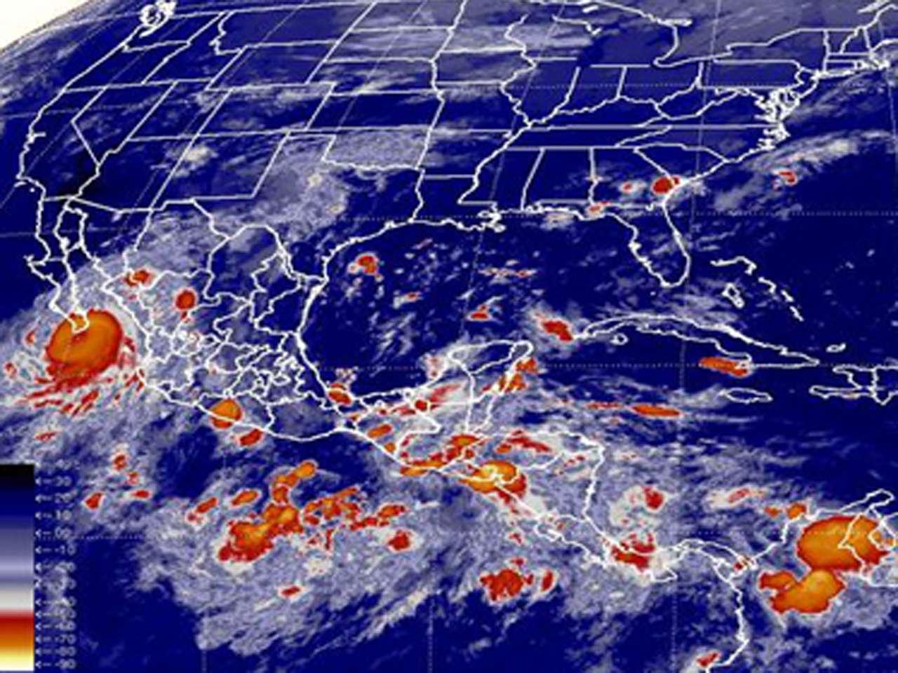 Continúa el pronóstico de lluvias torrenciales (de 150 a 250 milímetros) en Baja California Sur, e intensas (de 75 a 150 milímetros) en Sinaloa, Nayarit, Jalisco y Colima Foto: Conagua